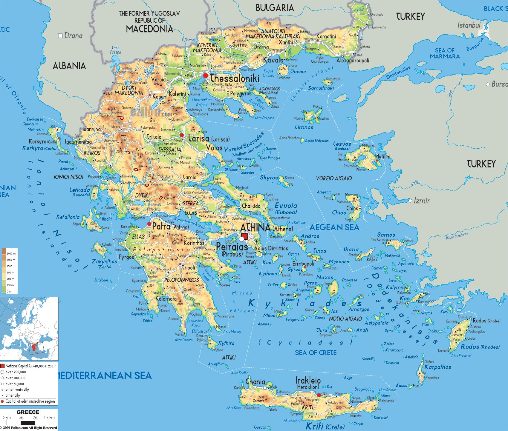 Grcka Geografiju Mapu Geografska Karta Grcka Juznoj Europi