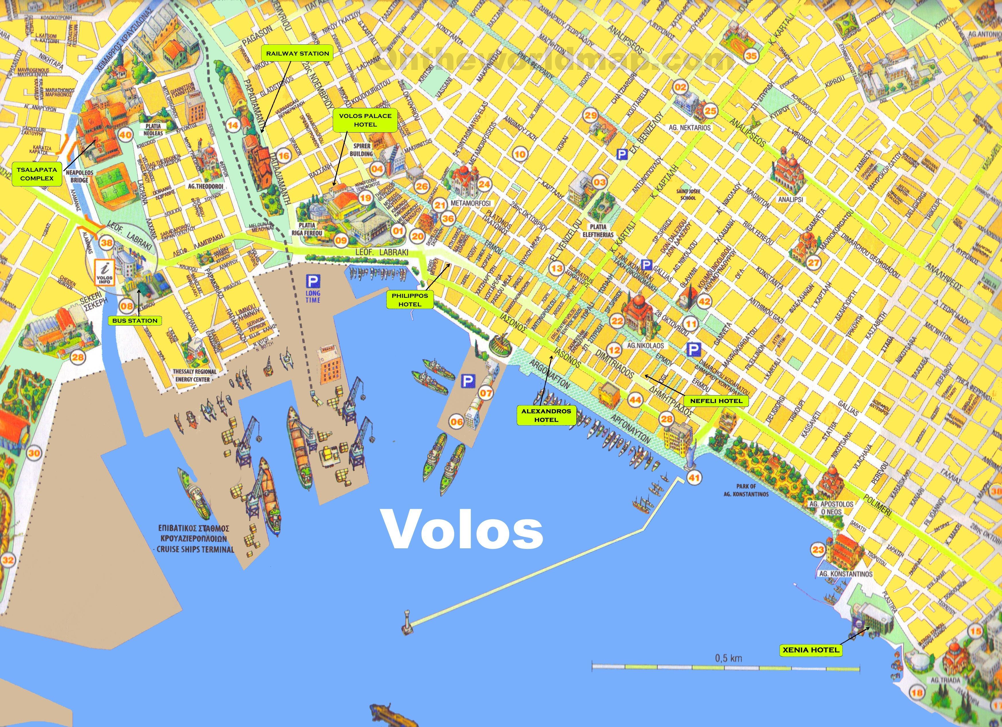 volos grcka mapa Volos Grčka mapu   Mapa Volos Grčka (Južnoj Europi   Evropi) volos grcka mapa