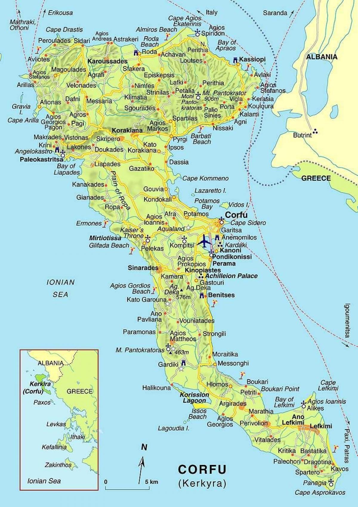 Krfu Grcka Mapu Mapa Krf Grcka Juznoj Europi Evropi