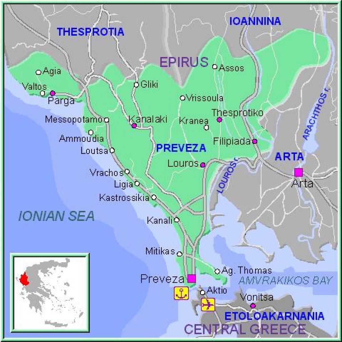 preveza grcka mapa Preveza Grčka mapu   Mapa Preveza Grčka (Južnoj Europi   Evropi) preveza grcka mapa